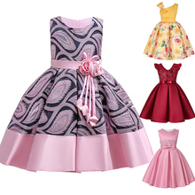 2019 new girls stamp striped strapless dress children decals bow a word Tutu princess dress dress baby birthday party