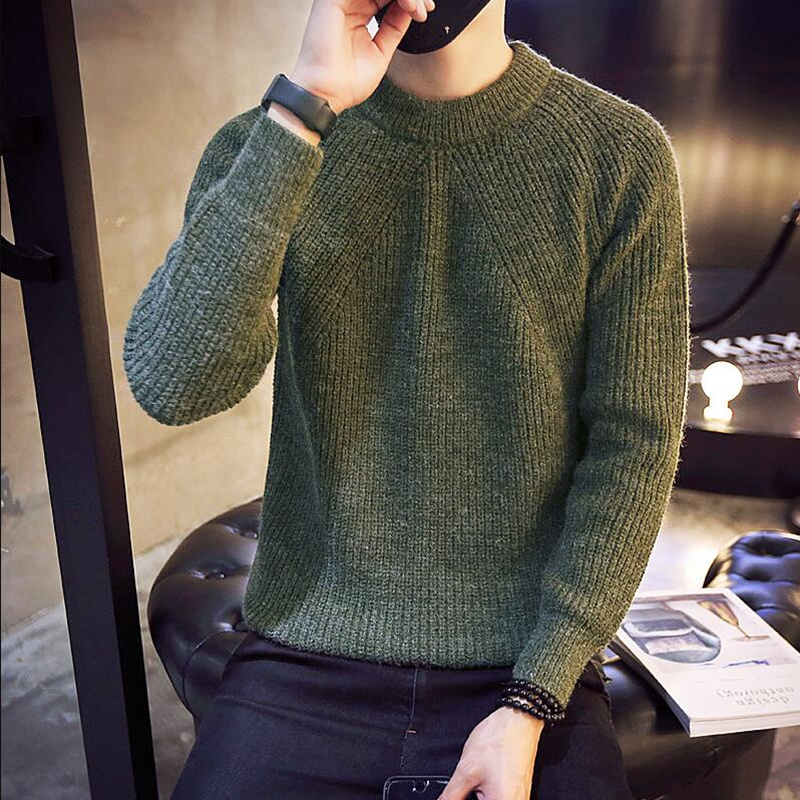 2019 Autumn And Winter High Lapel Men's Long-sleeved Sweaters Fashion Casual Man Slim Fit Knit Sweater Brand Clothing S-5XL