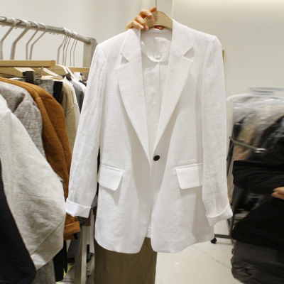 Solid Casual Blazer Jacket Female Long Sleeve Blazer Notched Women  Cotton Linen Office Lady Blaser Feminino