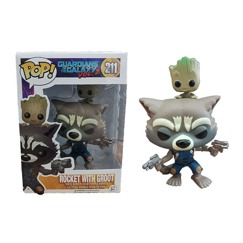 FUNKO POP Marvel Rocket Raccoon Groot POP Funko Originais Action Figures Collection Model Kids Toys For Children 3F88