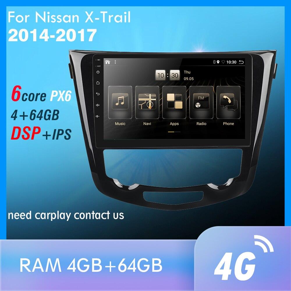 1din For Nissan X-Trail X Trail 3 T32 Qashqai 1 J10 2013-2017 Car Radio Multimedia Video Player Navigation GPS PX6 Android 9.0