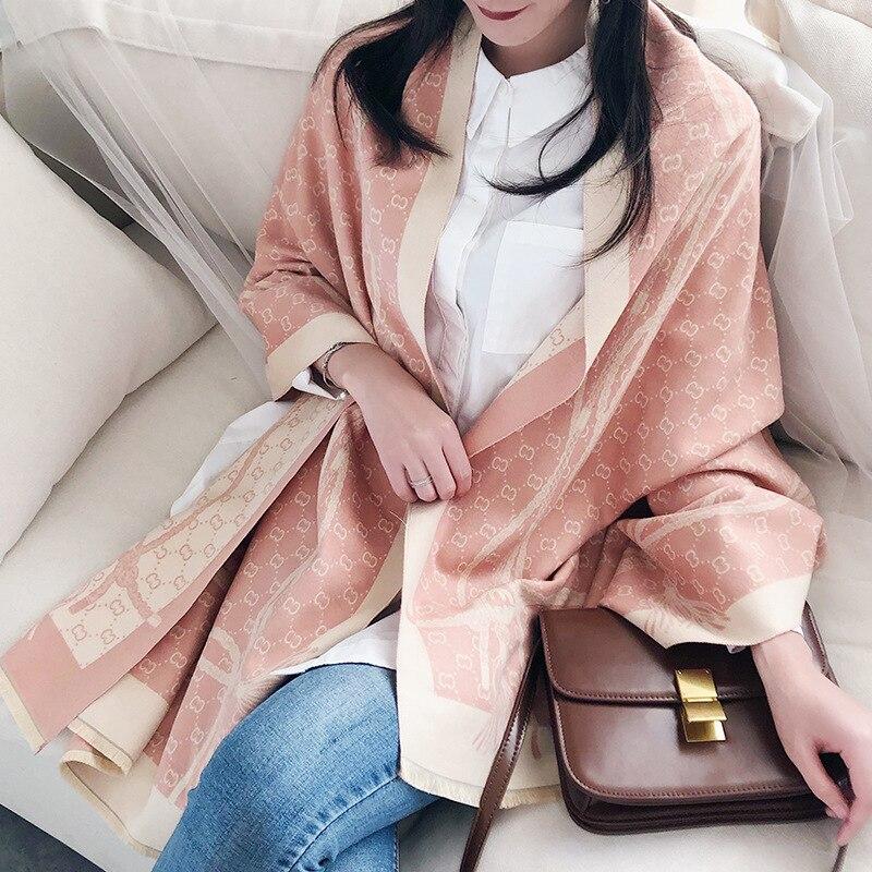 Кашемировый стеганый теплый шарф, модная женская большая шаль и обертывания, женские длинные шарфы с принтом, двусторонняя кисточка, клетчатая шаль|Женские шарфы|   | АлиЭкспресс