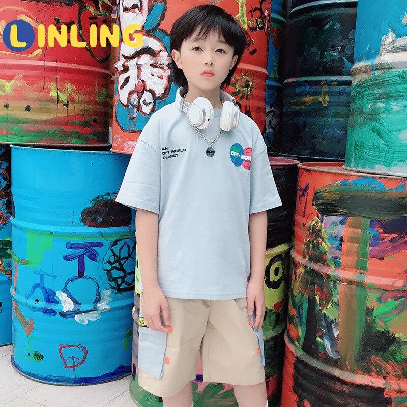 LINLING Fashion  Cotton Kids Costume Cartoon Prints Children's T-shirt Summer Soft Cotton Boys T Shirt V241 3