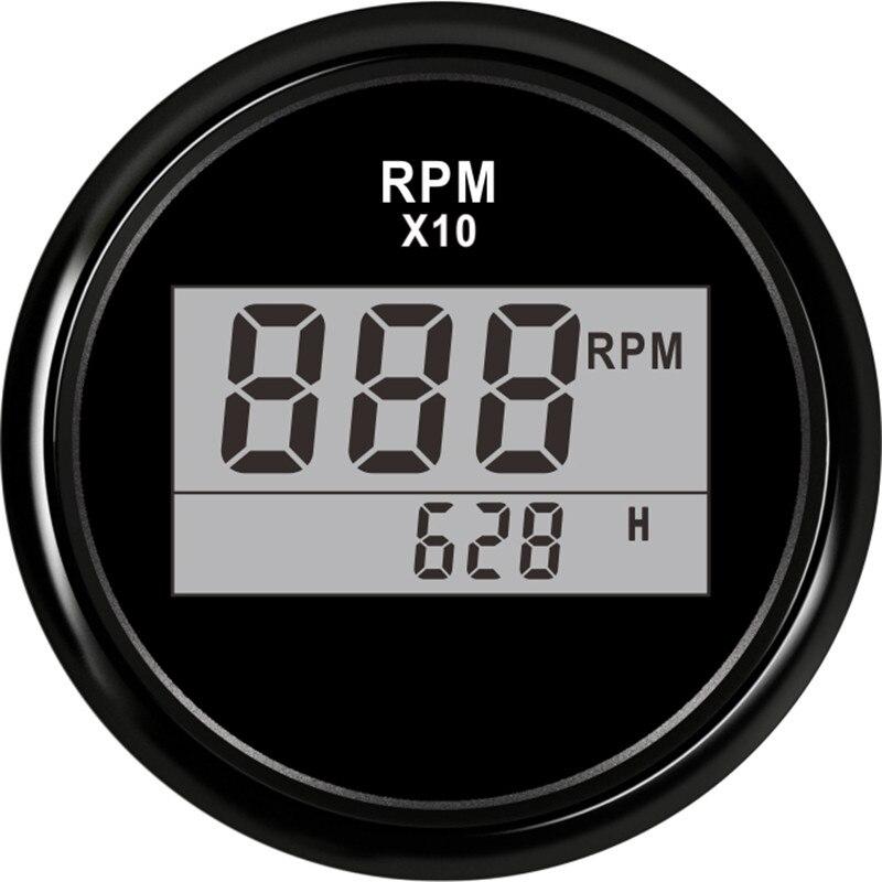 Цифровой тахометр, 2 дюйма (52 мм), 0-9990 об/мин, с песометром, подходит для лодок, автомобилей, грузовиков, мотоциклов, красная подсветка, 9-32 В