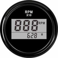 """2""""(52mm) Auto Truck Boat Digital Tachometer 0-9990 RPM With Hourmeter fit for Boat Car Truck Motorcycle Red Backlight 9-32V"""