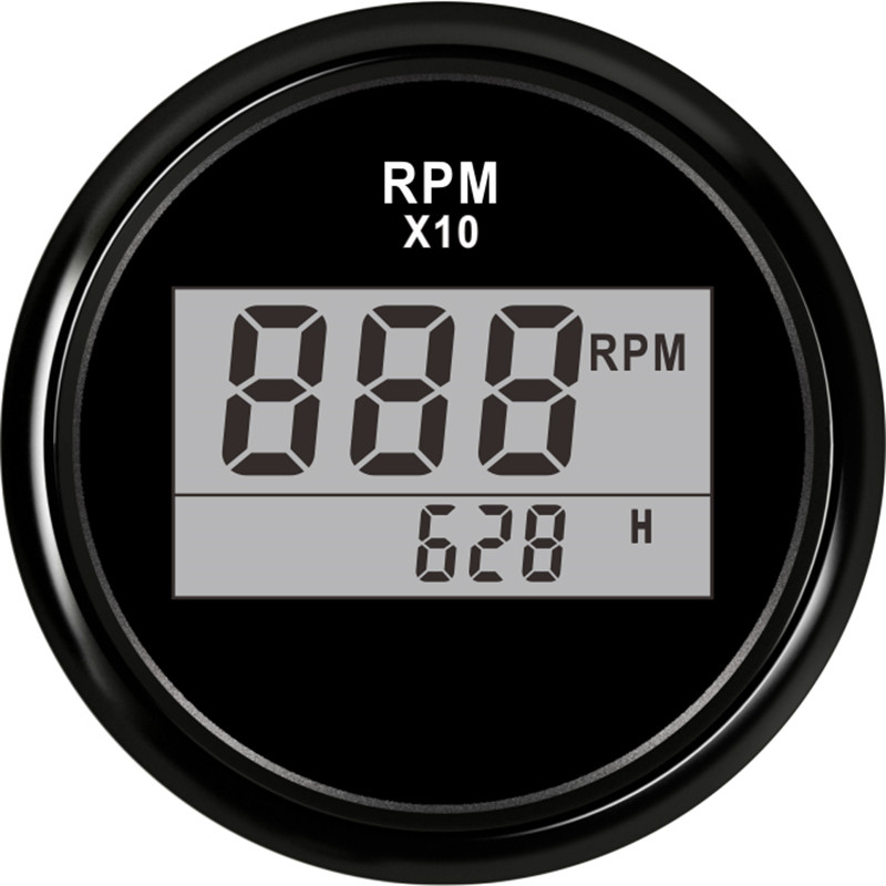 2(52mm) Auto Truck Boat Digital Tachometer 0 9990 RPM With Hourmeter fit for Boat Car Truck Motorcycle Red Backlight 9 32V