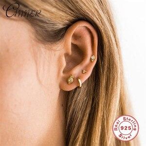 CANNER Fashion Cute Jewelry Delicate Women Ear Studs Tiny CZ Earrings Mini 925 Sterling Silver Earrings Small Gold Stud Earrings