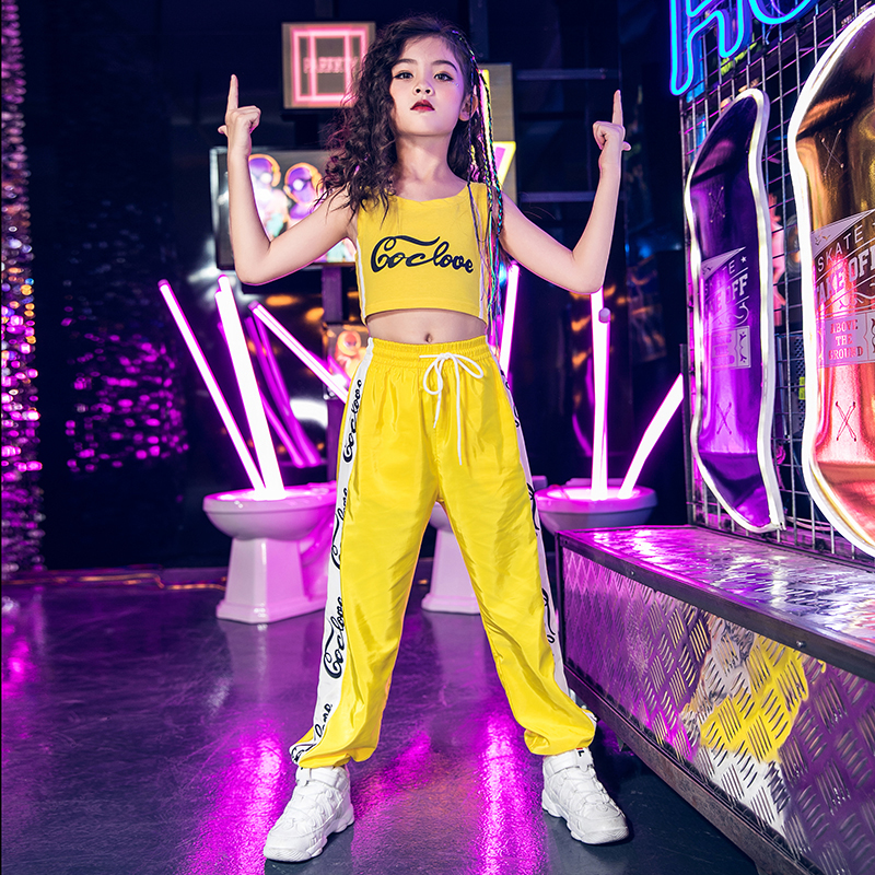 Enfants rue danse costume enfants Hip Hop Performance vêtements filles Jazz danse jaune/bleu ensemble Cheerleading Cool tenue DQL1910