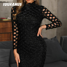 IUURANUS Women Autumn Vintage Bodycon Mini Black Dress Hollow-out Sleeve Stretch Casual Club Sexy