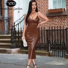 NewAsia Summer Brown Pu Leather Dress Women Sexy Spaghetti Straps V-Neck Backless Midi Bodyocn Party Club Long Dress 2020 New