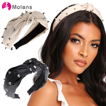 Molans Novelty Spiked Knot Headbands Solid Cream Satin Spike Stud Knot Hairbands for Women 2020 Spring Chic Wide Hair Headbands