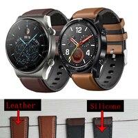 Horloge Band 22Mm Lederen Band Voor Huawei Gt 2 GT2 Pro Horloge Riem Vervangingen Honor Magic 1 2 46Mm Horloge Heren Riem