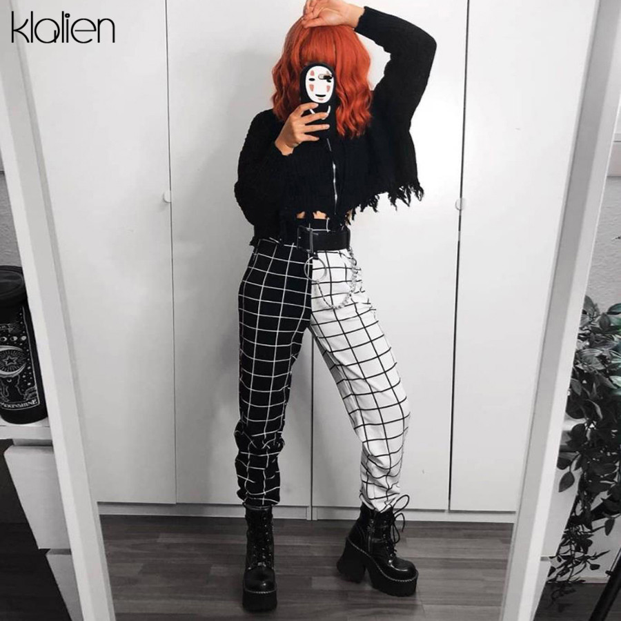 KLALIEN Black White Plaid Patchwork Harem Pants Women 2020 New Fashion Casual Loose Slim Pants Harajuk Streetwear Elastic Pants