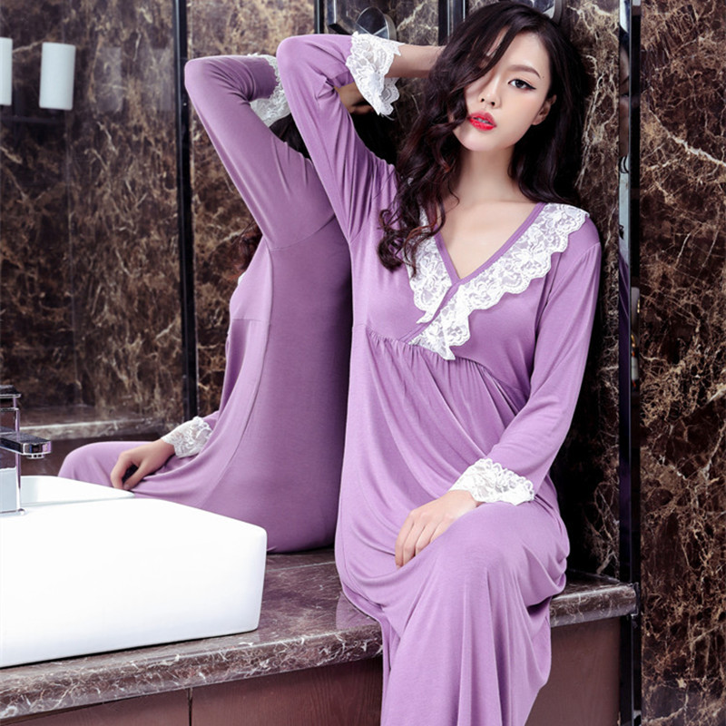 Women Ladies Round Neck Long Sleeve Cotton Jersey Relax Fit Nightshirt Nighties