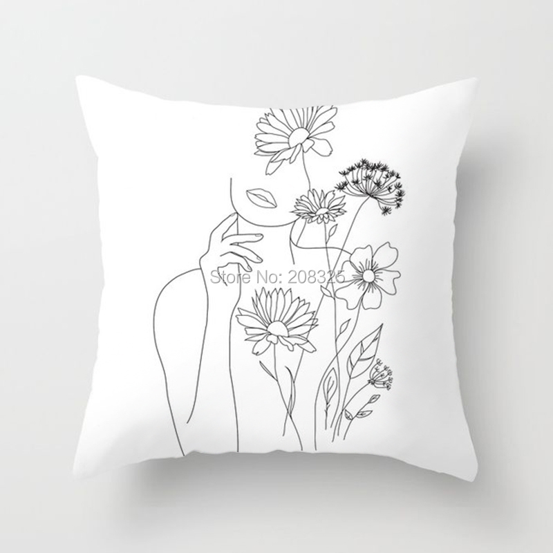 ZENGIA Minimal Line Art Woman Cushion Cover Lovers White Ait Print Pillow Cover Decorative Pillows For Sofa/Home Decoration/Car