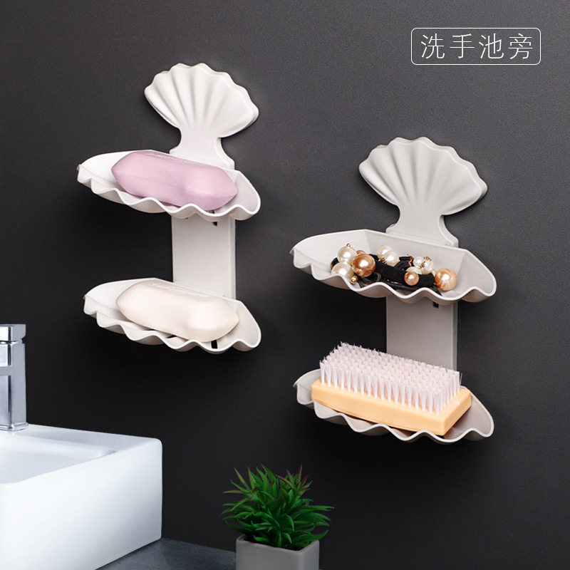Shell Double Layer Water Draining Soap Dish Hole Punched Creative Bathroom Shelf Bathroom Double Layer Soap Box Storage Rack