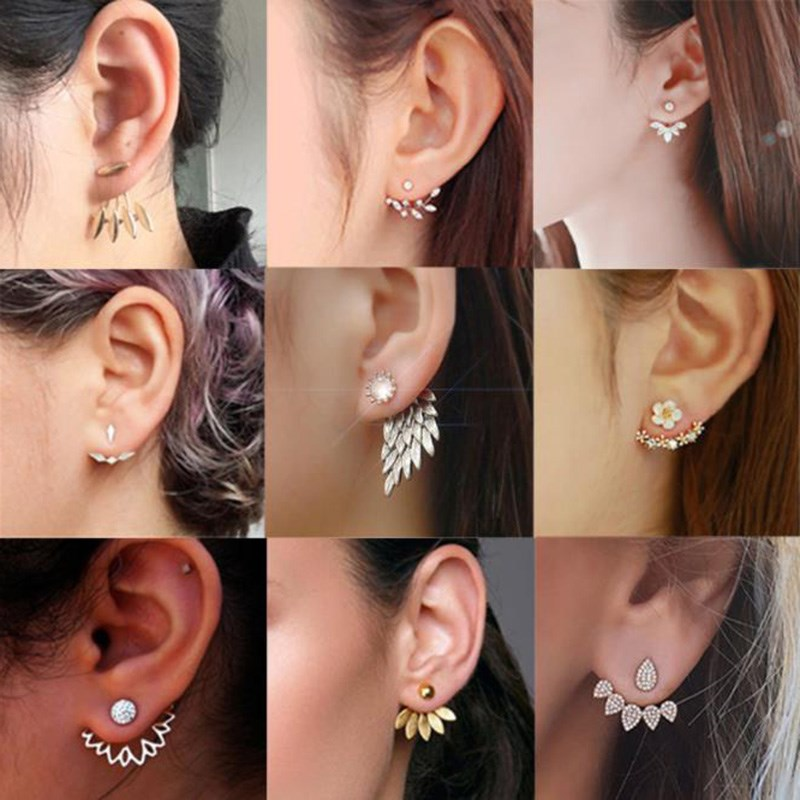 Korean Version Of Water Zirconium Daisy Flower Back Hanging Earrings Fashion Petal Inlaid Crystal Temperament Wild Earring Girlf