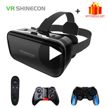 Vr shinecon 6.0 casque óculos de realidade virtual 3 d 3d óculos fone ouvido capacete para iphone android smartphone telefone inteligente lente viar