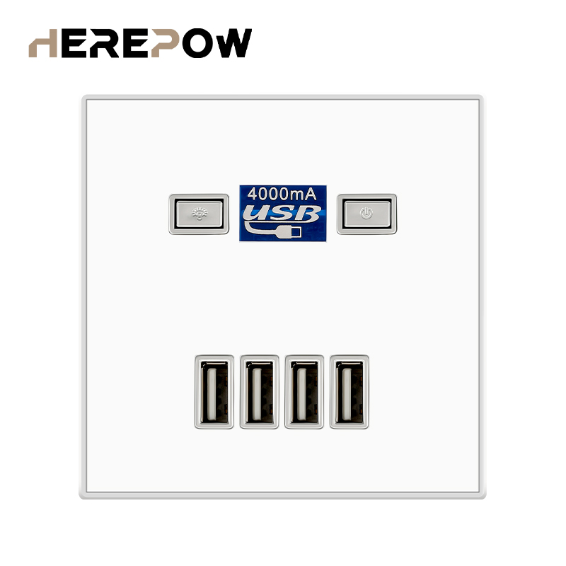 Herepow usb socket 4 Port USB Fast Charging Socket DC5V 4A Wall Outlet EU Standard usb outlet usb wall socket outlet with usb