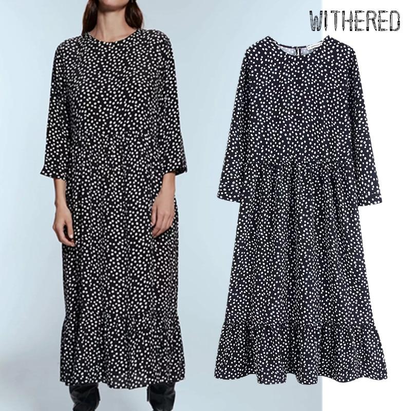Withered England Vintage Elegant Polka Dot Printing Midi Dress Women Vestidos De Fiesta De Noche Vestidos Maxi Dress Womenblazer