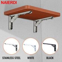 NAIERDI 2PCS Stainless Steel Folding Triangle Bracket Shelf Support Adjustable Shelf Holder Wall Mounted Bench Table Shelf