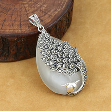 925 Sterling Silver Pendant Jewelry Retro Thai Silver Men And Women Models Peacock Marcasite Inlaid Opal Fine Jewelry недорого
