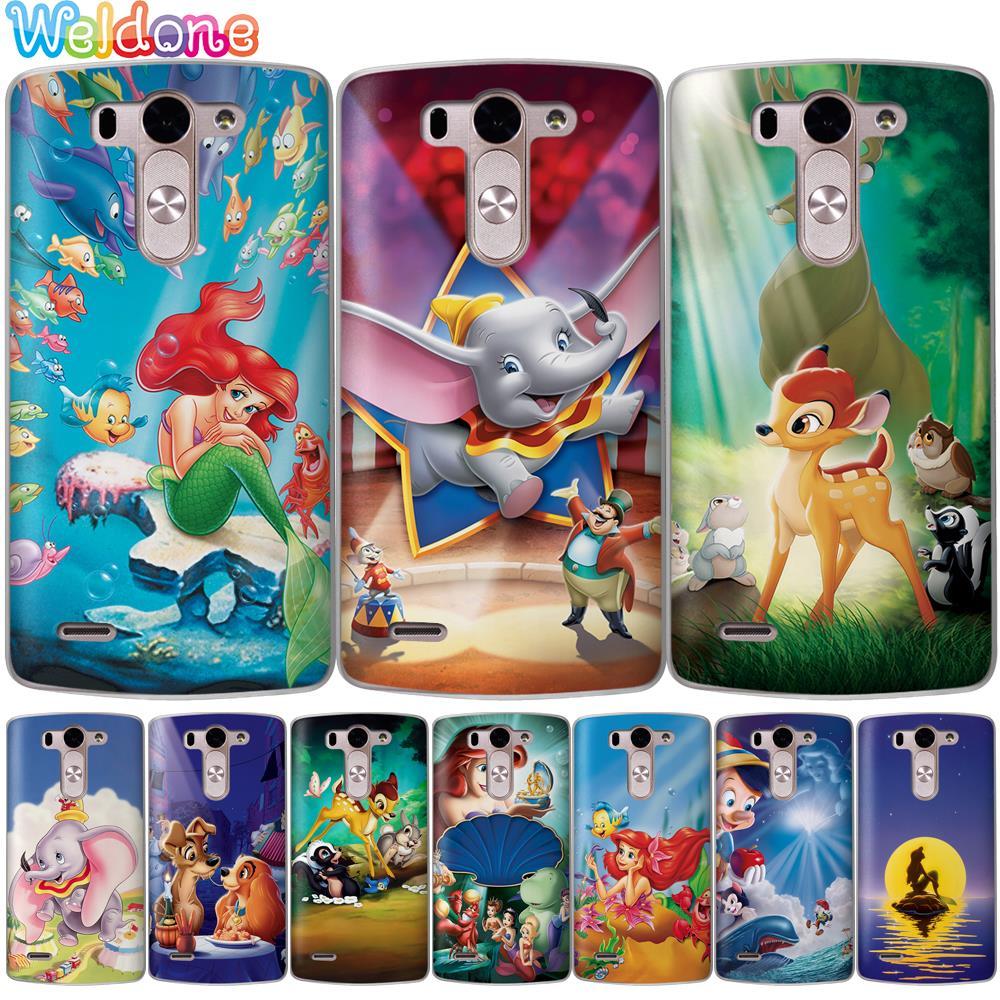 Cute Cartoon Mermaid Bambi Dumbo Phone Case For LG Q6 Q7 G6 G7 V30 Xpower3 K10 K8 2018 2017 K9 K11 G4 Case Etui Cover Coque