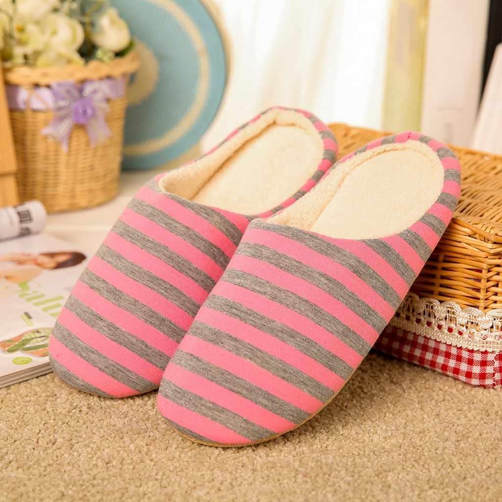Kadınlar kış ev terlik kaymaz çizgili düz ayakkabı sıcak peluş ev terlikleri kapalı yatak odası konfor büyük boy ayakkabı