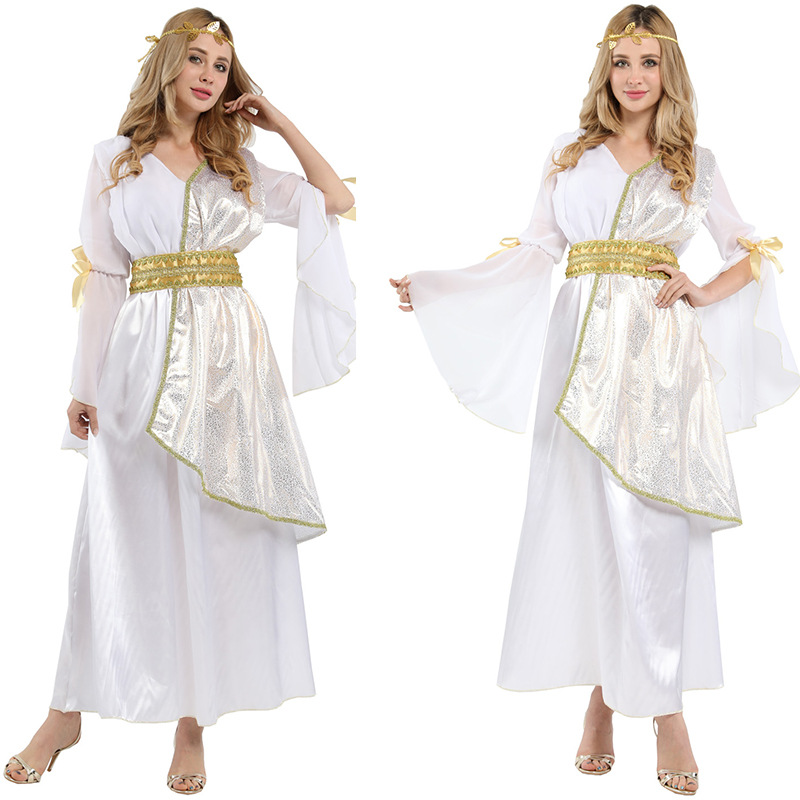White Arab Dress Christmas Halloween Cosplay Costume Athena Queen Dresses Party Role Play Elegant Princess Disfraz For Woman