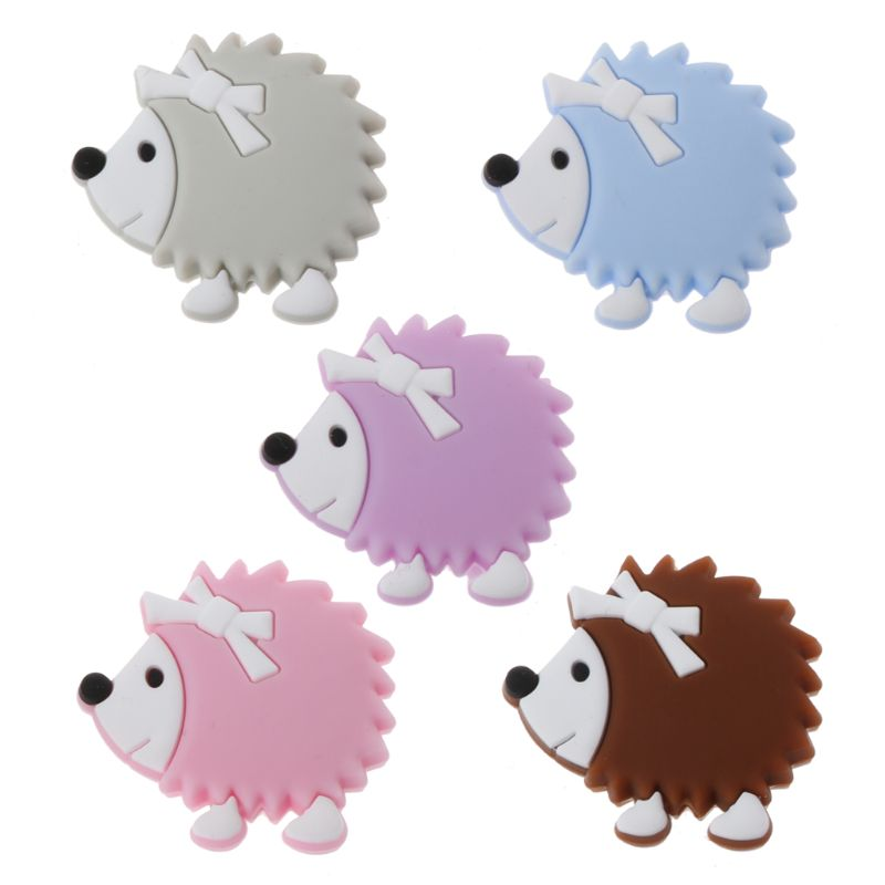 1PC Cute Baby Teether Silicone Cartoon Animal Hedgehog Beads Teething Pacifier Chain Beads Teathing Toy Silicone Teether