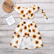 Get more info on the 2019 Fashion Toddler Baby Girls Off Shoulder Sunflower Print Tops+Skirt Pantskirt Outfits Set