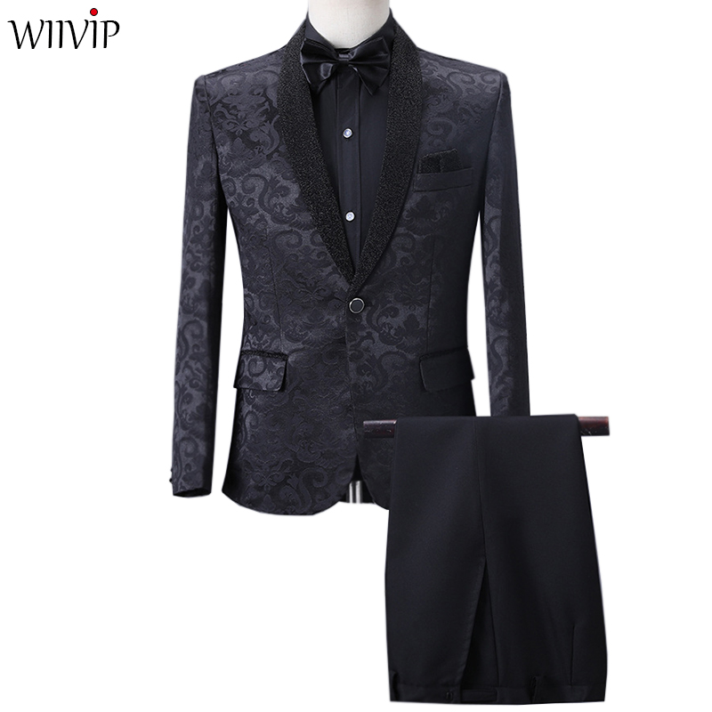 Performance Clothing Two-piece Set Suit Blazer&pant 019 New Men's Suit Stage Singer Hosted The Dress