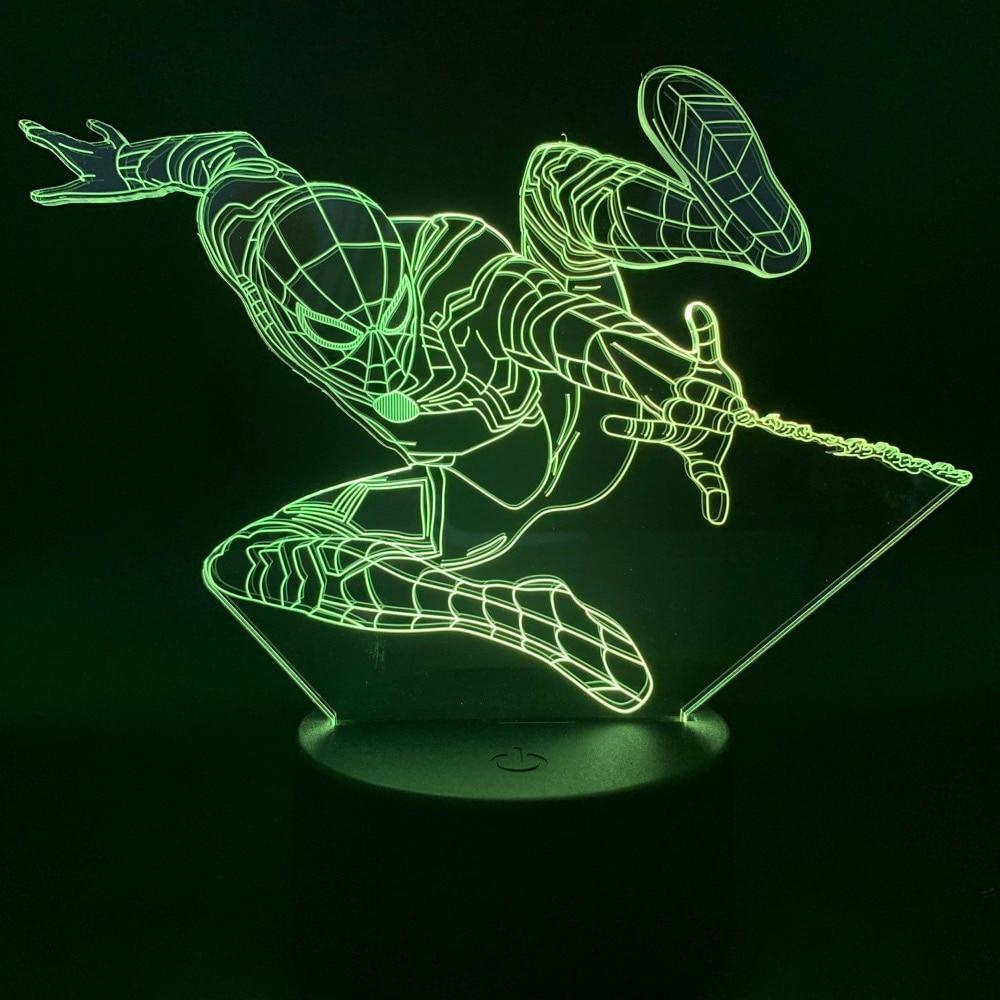 Led Night Light Spiderman Light For Children Modern Gift Nightlights For Kids Bedroom Battery Operated 3D Lamp Spiderman Novetly