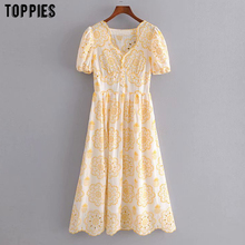 toppies vintage yellow embroidered mini dress womens short s