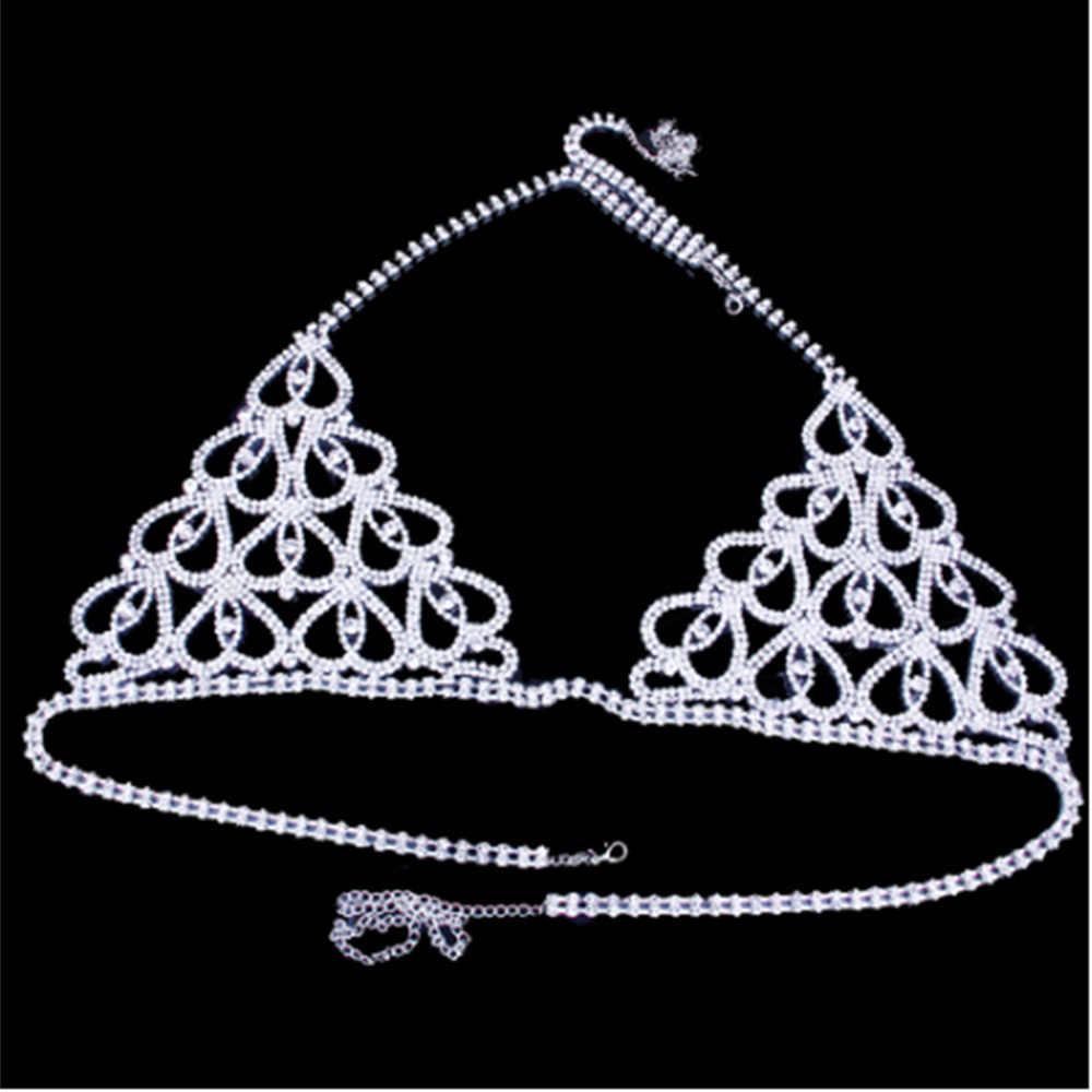 StoneFans sıcak erotik iç çamaşırı Rhinestone kalp vücut zinciri bikini seti tanga Bralette üst sutyen kristal tanga külot göbek takısı