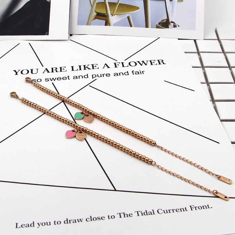 Luxury Brand quot Fantastic ETERNAL LOVE New York quot Balls Beaded Bracelet For Women Couple Green Pink Double Heart Charm Bracelets KA18 in Charm Bracelets from Jewelry amp Accessories