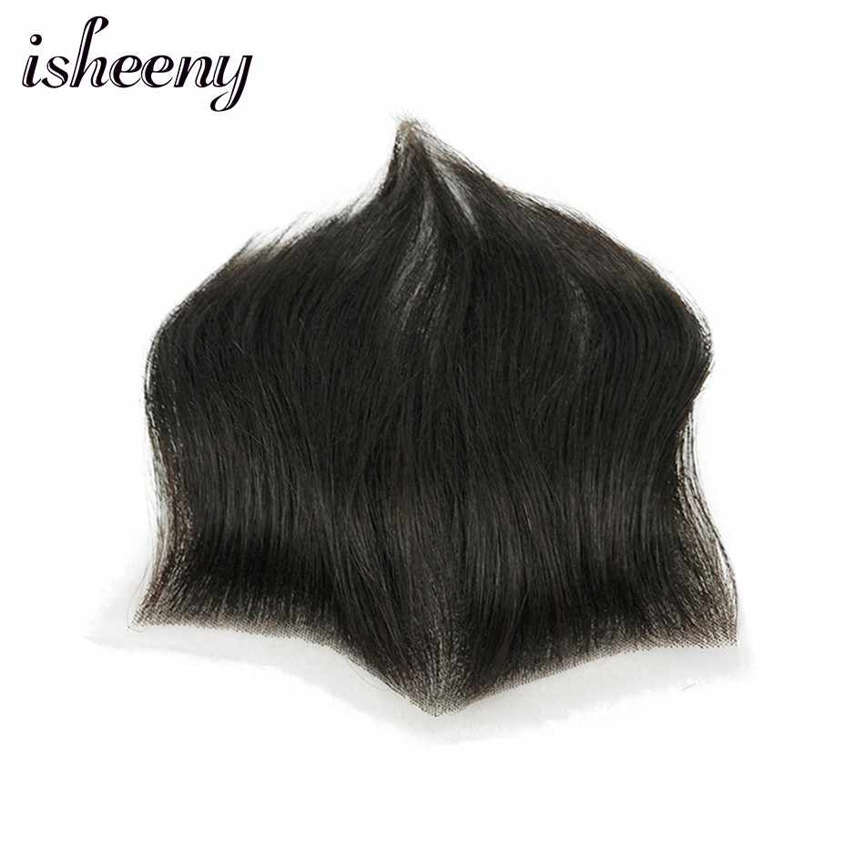 "Isheeny 15*7 Men Replacement System 100% Human Hair Piece M Style Forehead Toupee Wig 4"" Short Remy Hair With Lace Hair Natural"