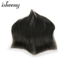 "Isheeny 15*7 Men Replacement System 100% Human Hair Piece M Style Forehead Toupee Wig 4"" Short Remy Hair With Lace Hair Natural(China)"