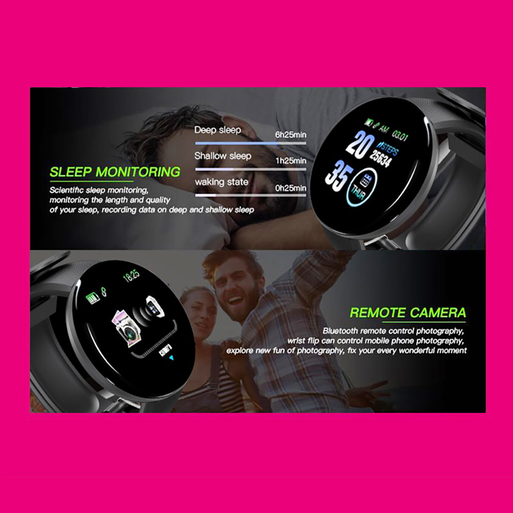 Hf011b8f125ee45ea86096ea4c87166deJ Smart Watch D18 Blood Pressure Fitness Tracker Round Smartwatch Waterproof Sports Smart Watch Men Women For Android Ios Z2