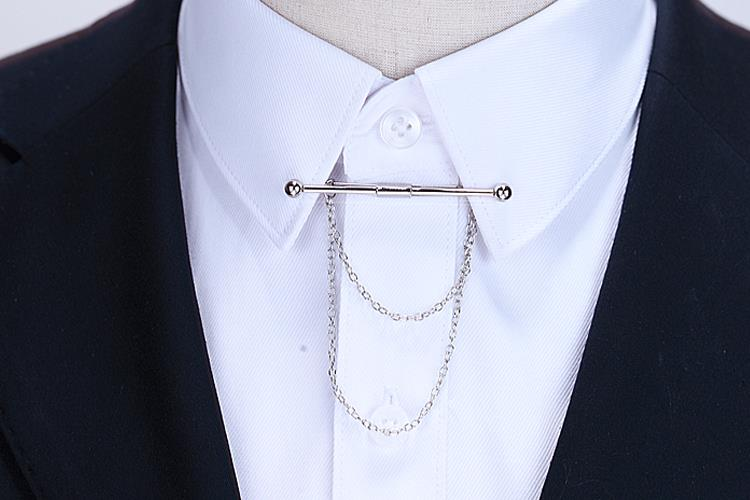 Hot Sale Brooches Broches High-end Fashion Personality Brooch Tassel Chain Clip Collar Shirt Buttoned Pin Male Accessories 5
