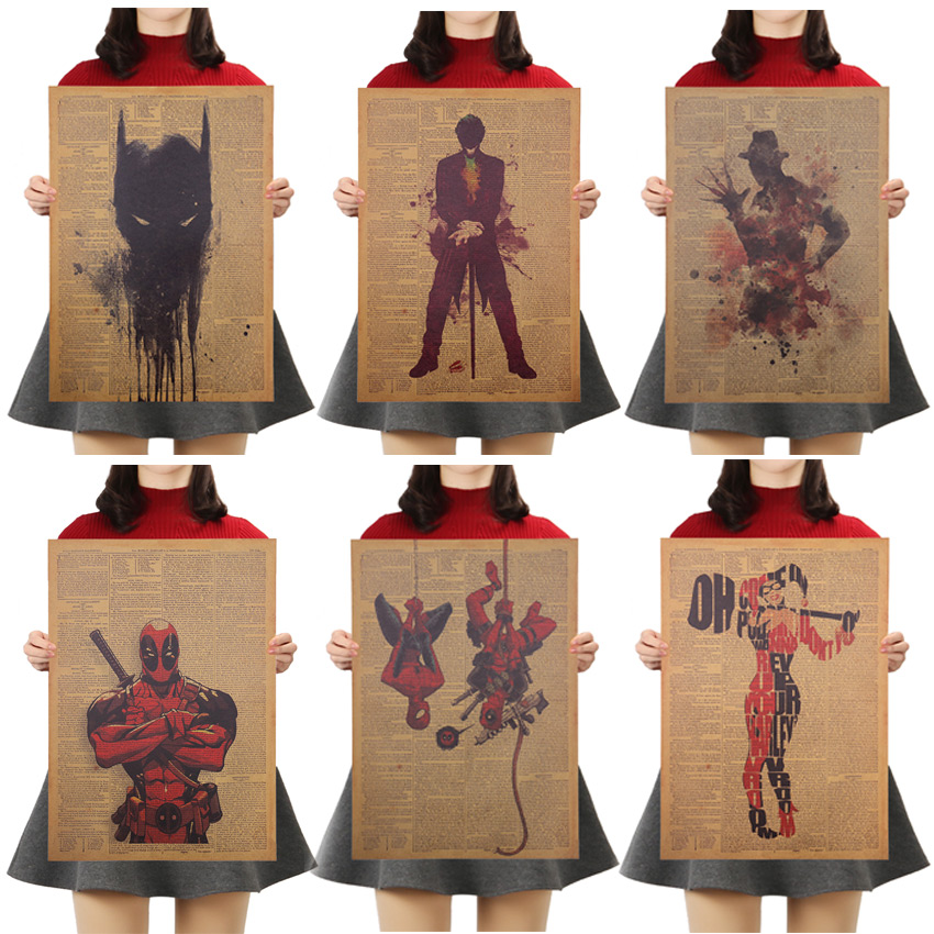 TIE LER Marvel Series Character Hero Poster Nostalgic Kraft Paper Decorative Wall Stickers Children Wall Decoration 50.5X36cm