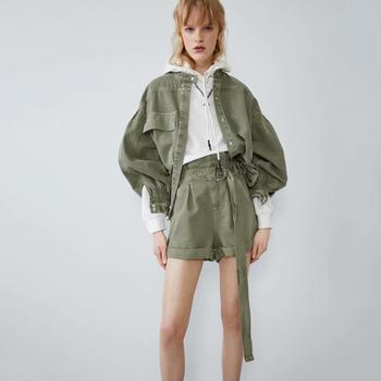 Otoño 2019 conjunto de 2 piezas para mujer camisa y pantalones vaqueros chaqueta y pantalones cortos ropa de moda verde conjunto de algodón de mezclilla ropa de calle