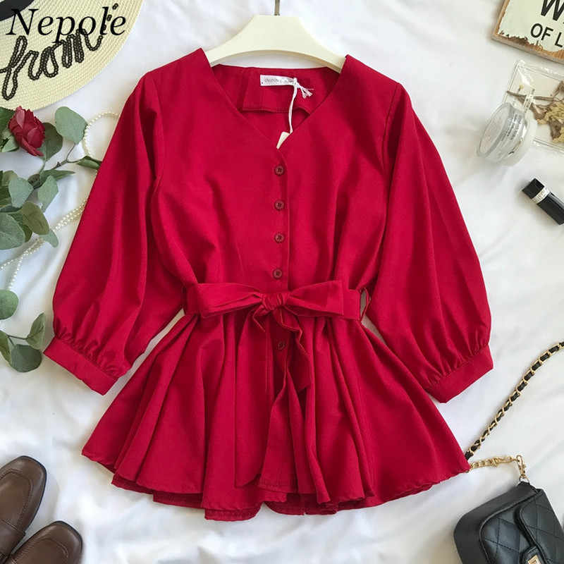 Neploe Sashes V-Neck Pleated Women Shirt Spring Autumn Fashion Simple Sweet Top 2019 Modis Solid Single Breasted Blouse 69659