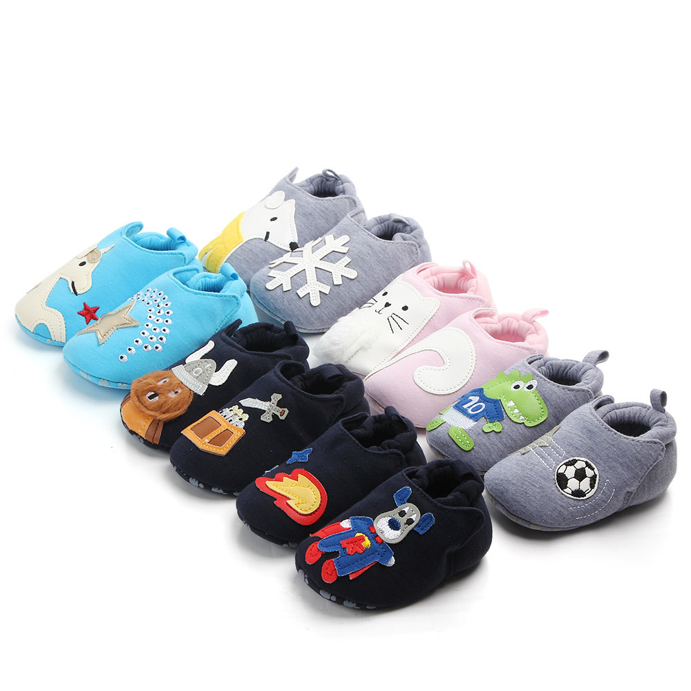 Spring and autumn new non-slip soft bottom baby toddler shoes baby boy girl baby cotton shoes cartoon can not drop shoes0-12 title=