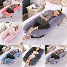 Upgraded Pregnancy Pillow Full Filling Cotton Pregnant Pillow Cushion Long U Shape Maternity Plillow For Pregnant Women Sleeping