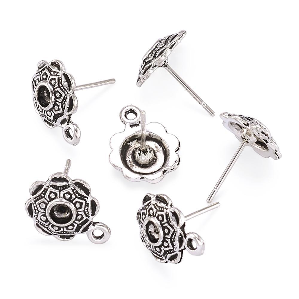 20 Pcs Antique Silver Flower Ear Studs