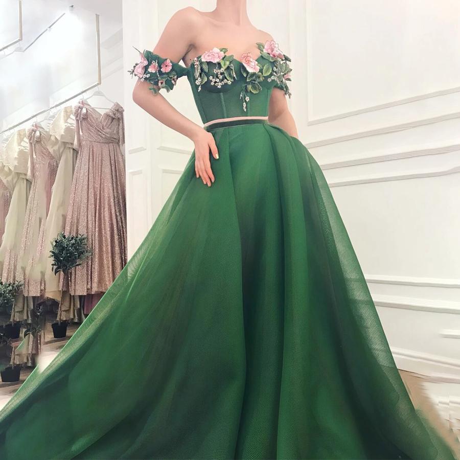 Off the Shoulder with Colorful Lace Applique Green Prom Dress Elegant Matte Tulle Evening Dress vestido de formatura