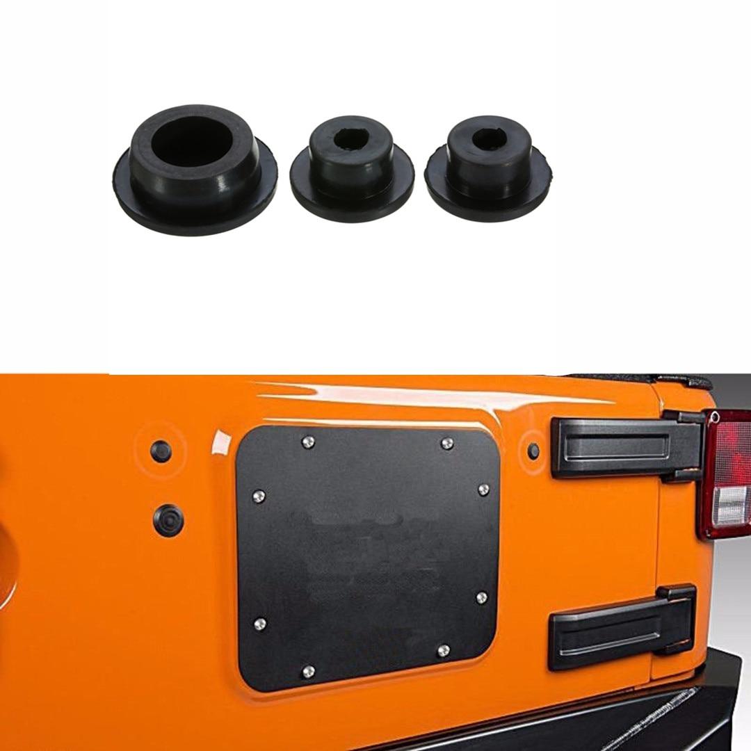 Комплект резиновых заглушек багажника автомобиля 3 шт. для Jeep Wrangler JK багажника Tramp штамп Перевозчик шин удалить 2007-2018
