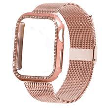 цены на Case+strap for Apple Watch Band 44 mm 40mm iWatch band 42mm 38mm Stainless Steel Milanese Loop bracelet Apple watch 4 3 5 2 1  в интернет-магазинах