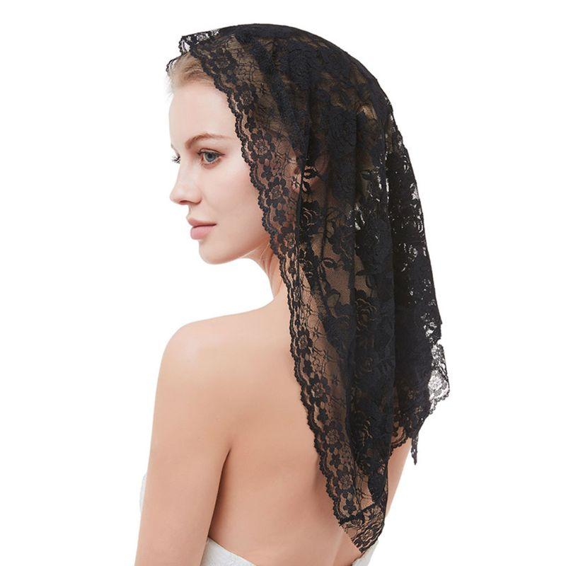 95x55CM One-Layer Women Short Wedding Veil Delicate Crochet Floral Lace Jacquard Scalloped Trim Bridal Veil Face Cover No Comb